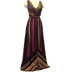 Multi Colored Striped V Neck Maxi Dress