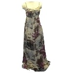Flower Print Gold Evening Dress