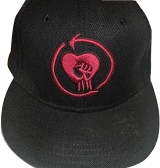 Black Cap with Burgandy Heart