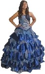 Peacock Print Corset Quinceanera Dress